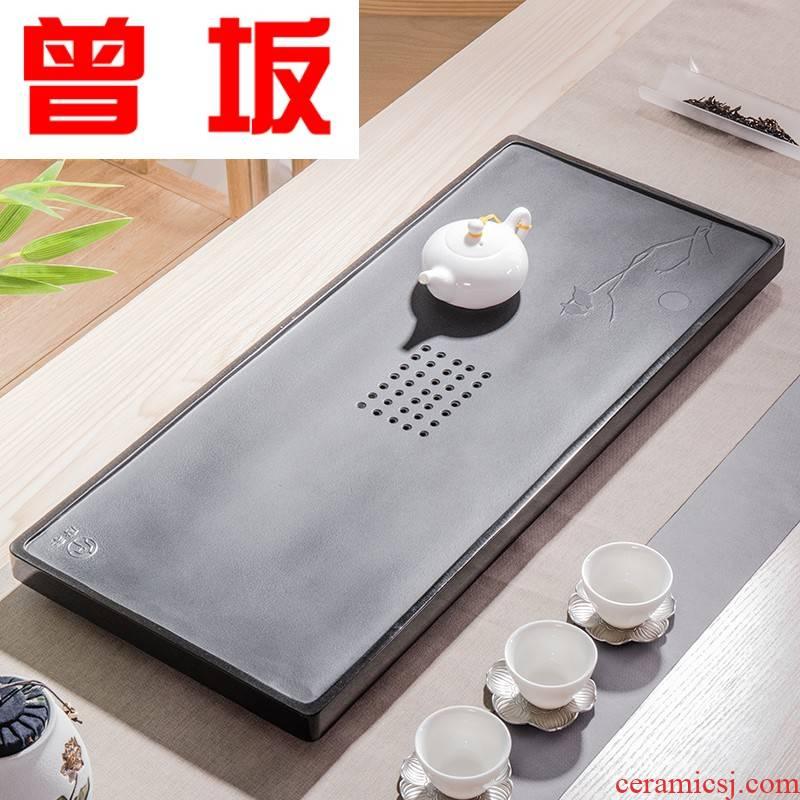 Once sitting sharply stone tea tray household contracted the whole piece of kung fu tea set large rectangular tea sea stone tea tray