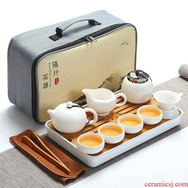 Travel ceramic tea set suit portable xi shi pot of tea tea tray is suing the car along with tea, mercifully tea kettle