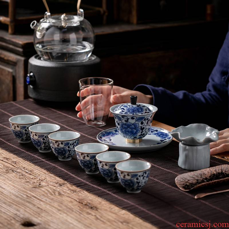 Fujian and the tureen only ceramic tea set home antique blue and white porcelain Japanese office kung fu tea cups