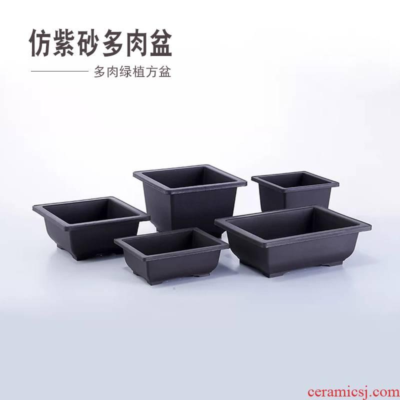 Meat flower POTS, large diameter platter copy more purple sand flowerpot more plastic money plant bonsai POTS square