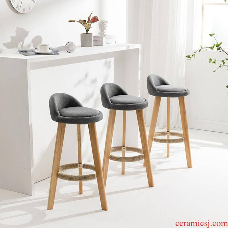 European - style bar chair son solo Gao Dengzi convenience wooden who soft on mariko can coffee milk tea shop