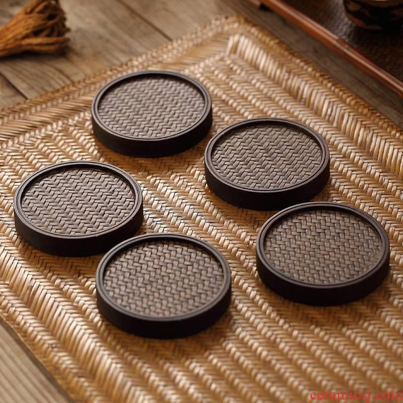 Morning high ebony Japanese zen tea accessories cup mat pot bearing pot cup holder, heavy bamboo saucer tea taking