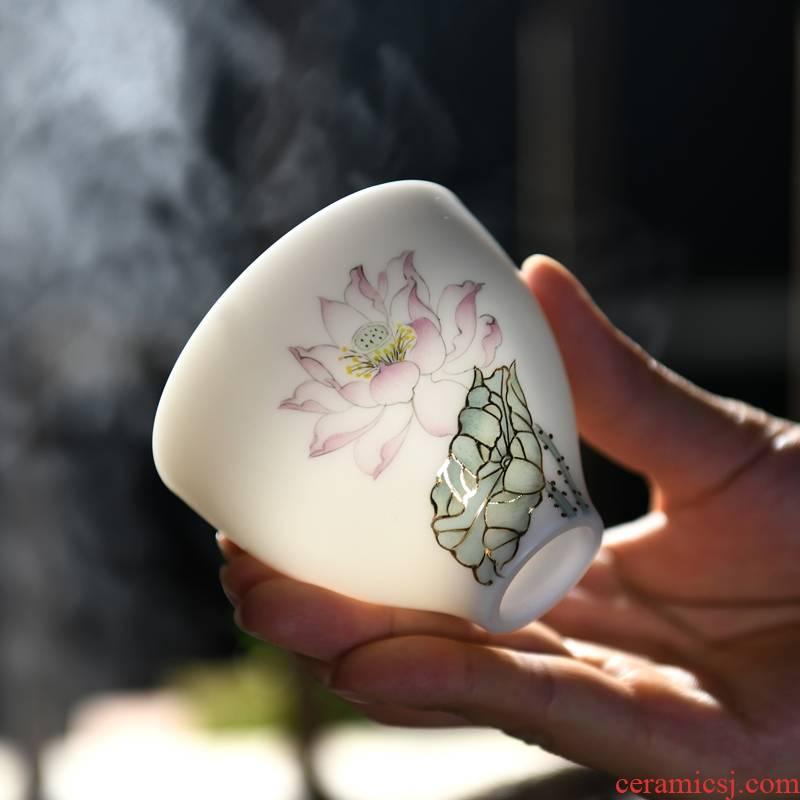 Xu ink biscuit firing porcelain teacup hand - made the master sample tea cup cup suet jade porcelain kung fu tea sets of high - grade gift box