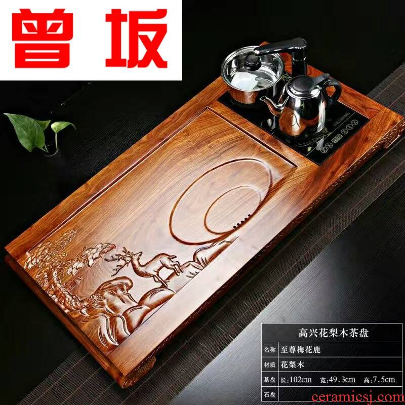 Once sitting manufacturer sheet carved rosewood refined ssangyong is exquisite pearl tea tray was hua limu tea tray tea sea