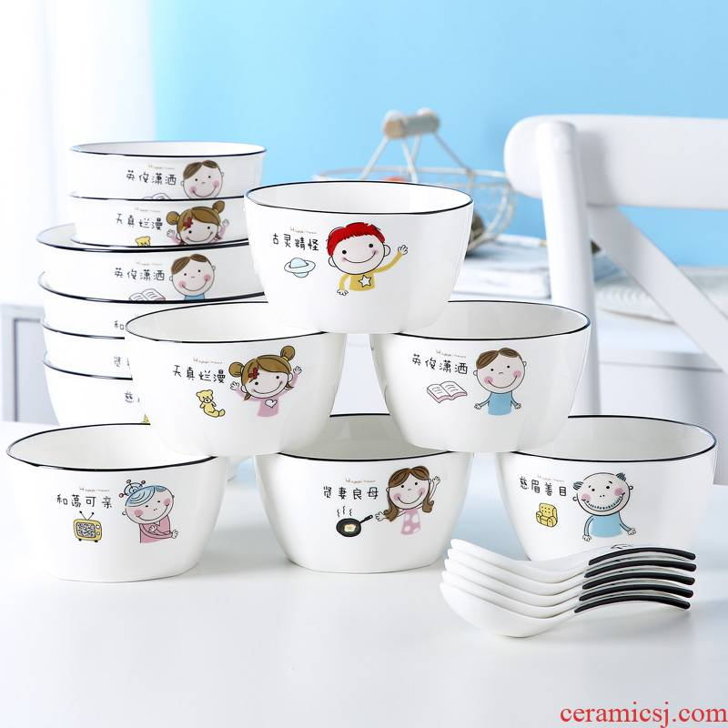 Jingdezhen ceramic bowl with creative move large rice noodles soup bowl ipads porcelain tableware individual as a family