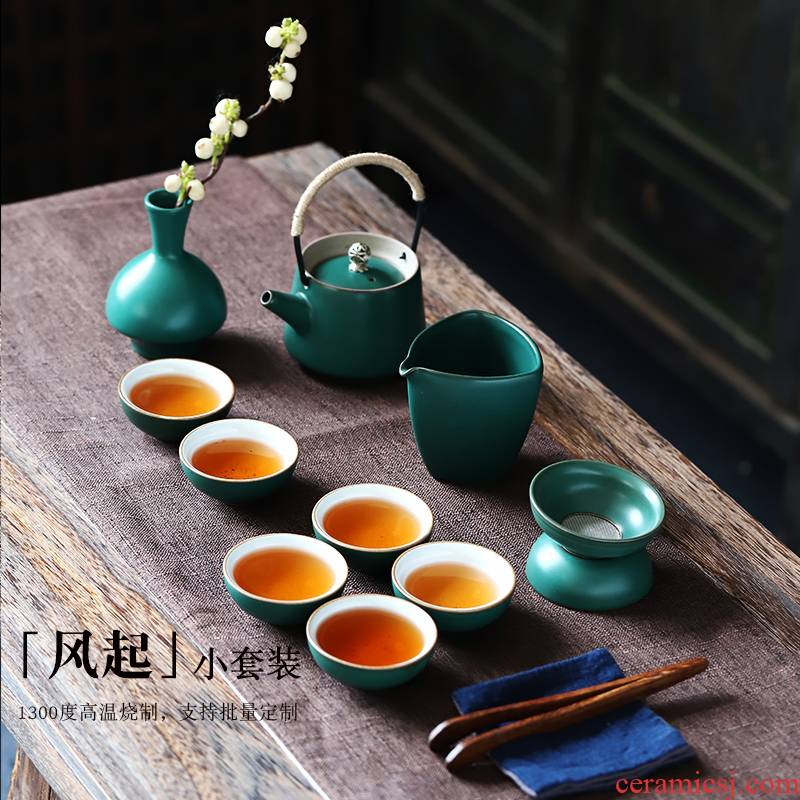 Girder ShangYan ceramic pot of tea set 6 people contracted home of kung fu tea cup tea cups of a complete set of the teapot
