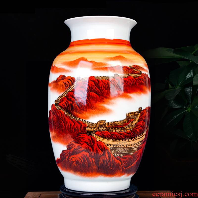 New Chinese style household hand - made jingdezhen ceramics powder enamel vase wall sitting room decoration crafts are arranging flowers