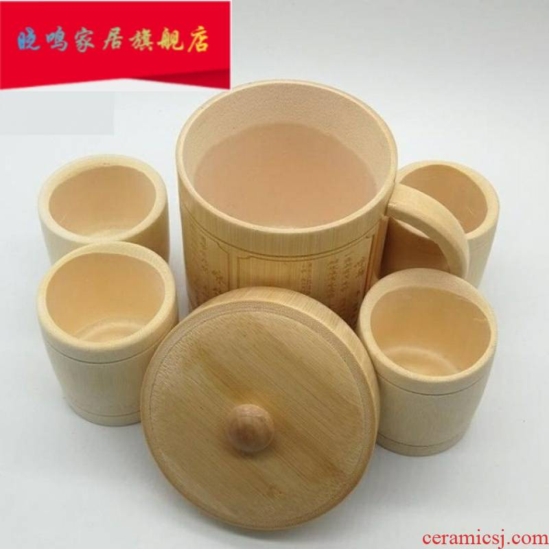 Bamboo cups with cover glass checking Bamboo water Bamboo cup household Bamboo take cup restoring ancient ways