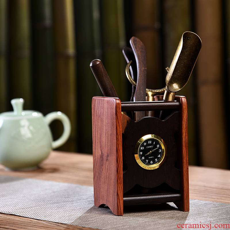 Ebony wood tea six gentleman 's suit kung fu tea accessories of brush ChaGa tea knife 6 gentleman furnishing articles