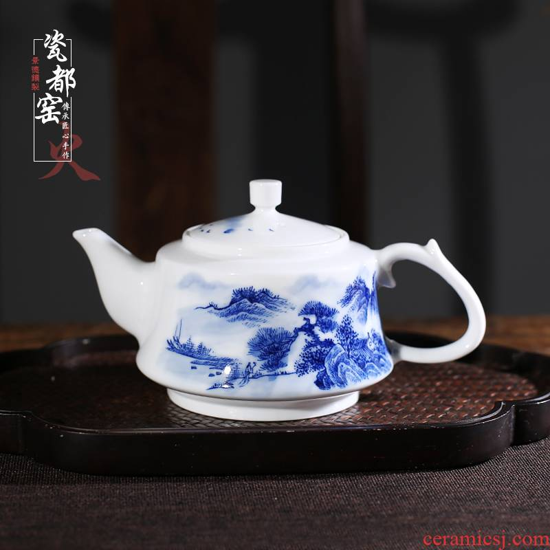 Jingdezhen porcelain painting landscape ceramic household one single pot with filter kung fu tea pot lid of blue and white porcelain bowl