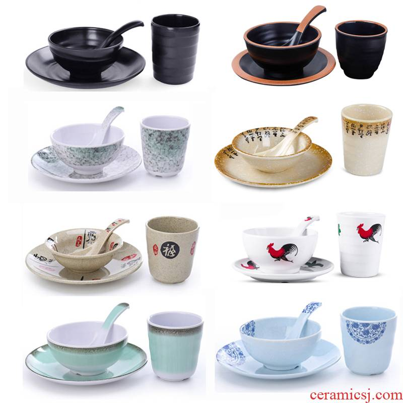 Fangci melamine chafing dish table 4 plastic hotel hotel restaurant tableware suit dishes cup spoon, chopsticks ltd.