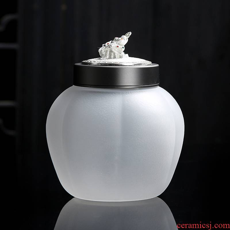 Coloured glaze glass size portable portable mini puer tea caddy fixings tin box sealing cover with silver small POTS