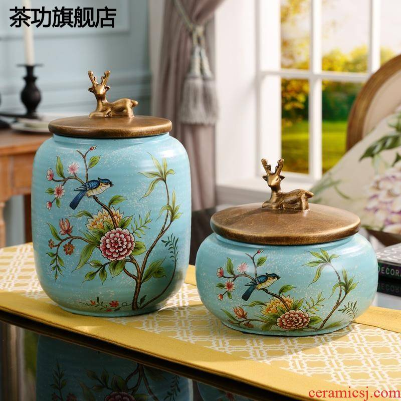 European ceramic creative storage tank furnishing articles sitting room tea table wine porch decoration candy jar caddy fixings household