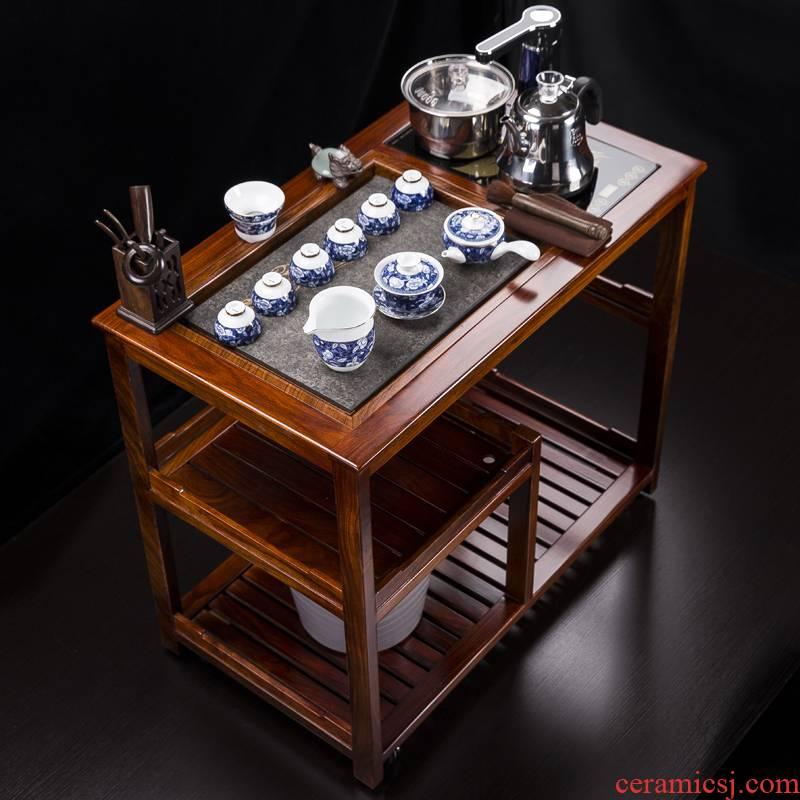 Tea car rosewood movable pulley balcony solid wood Tea table small Tea Tea tray was kung fu Tea Tea set table B