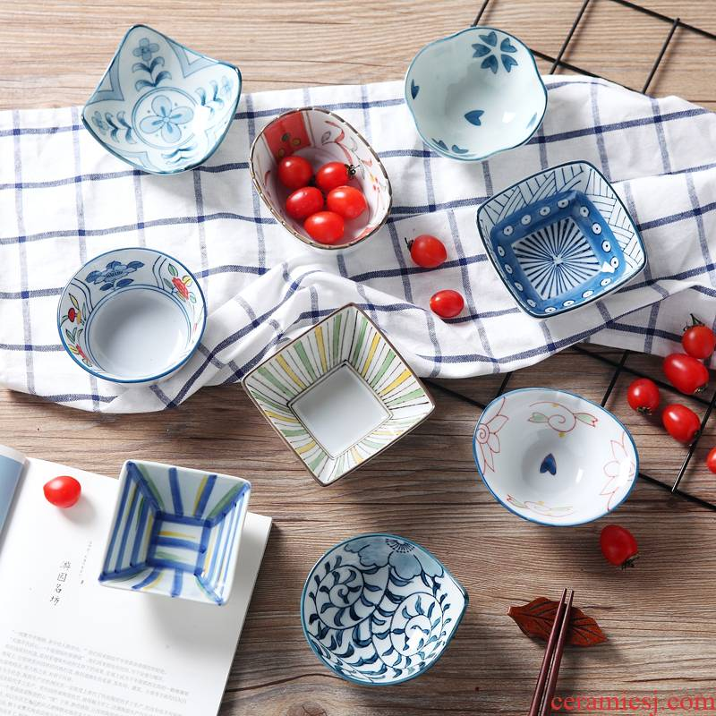 Japanese ceramics flavor dish seasoning sauce dish snack plate under the glaze color plate dessert plate snack plates