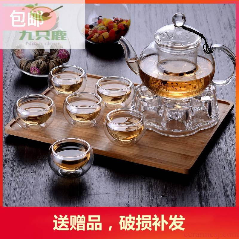 The Flowers and the plants suit heat - resistant glass teapot household filtering cup transparent fruit tea based heating temperature mercifully tea