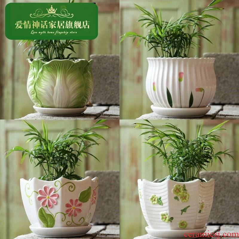 The Flowerpot ceramic large oversized contracted household with tray plastic flower pot money plant bracketplant, fleshy