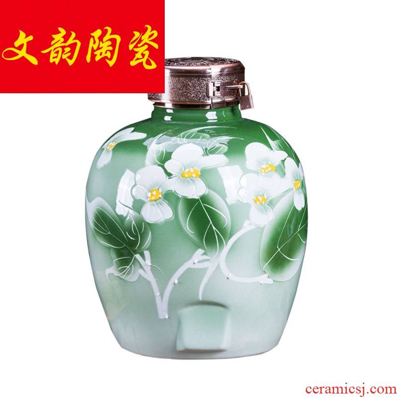 Ceramic jar it 10 kg bottles household seal archaize earthenware with cover 20 jins of 50 kg terms bottle