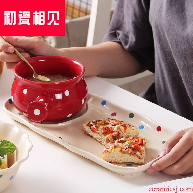 Porcelain meet each other at the beginning of the creative wave point breakfast tray was home plate ceramic disc oatmeal bowl? H your job one Japanese food