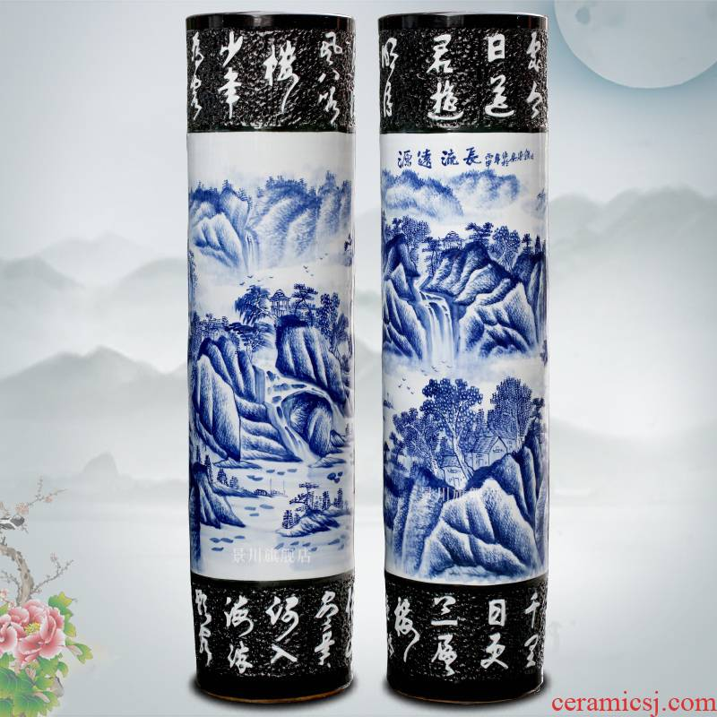 Blue and white porcelain has a long history in the hand - made big vase jingdezhen ceramics of large vases, sitting room of Chinese style household furnishing articles