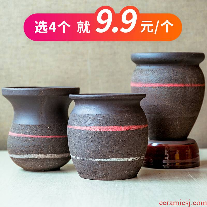 Fleshy flower pot hand POTS coarse pottery breathable plant POTS contracted wholesale ceramic purple sand flowerpot POTS