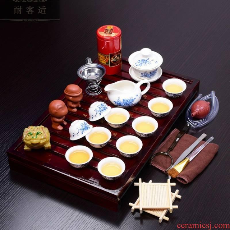 Hold to guest comfortable manufacturers shot solid wood tea tray of a complete set of tea set violet arenaceous kung fu tea set ceramic business gifts