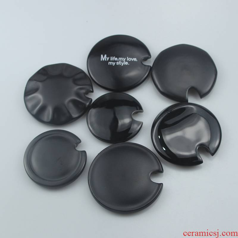 Black lid general glass ceramic keller accessories star cup cover cup, porcelain g cover sheet sells lid B,