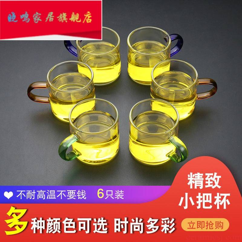 Glass cup with small cup put six kung fu tea sets, heat - resistant household mini thickening masters cup