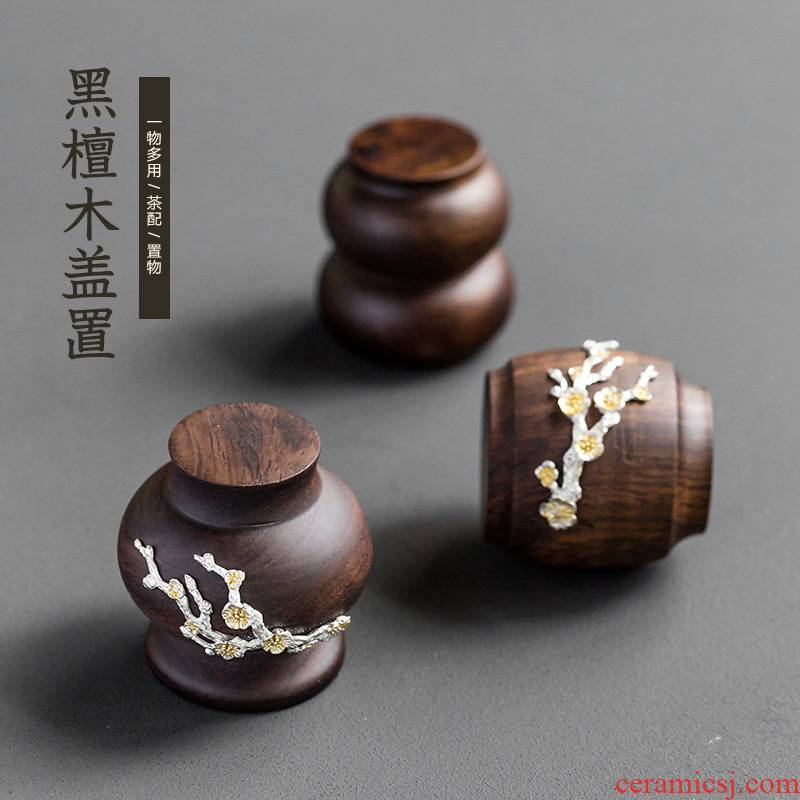 Ebony cover buy tea pet accessories lid bowl cover bracket Japanese tin flower kung fu tea tea table is placed by hand