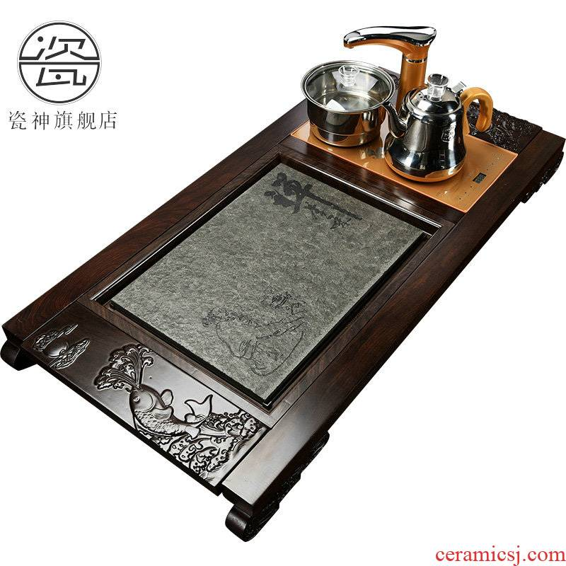 Porcelain god fully automatic induction cooker, black stone, kung fu tea tea ebony sharply stone tea tray was solid wood tea table