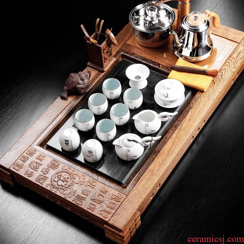 Automatic water 6 gold furnace chicken wings wood real wood, ceramic kung fu tea tray tea cups, tea set
