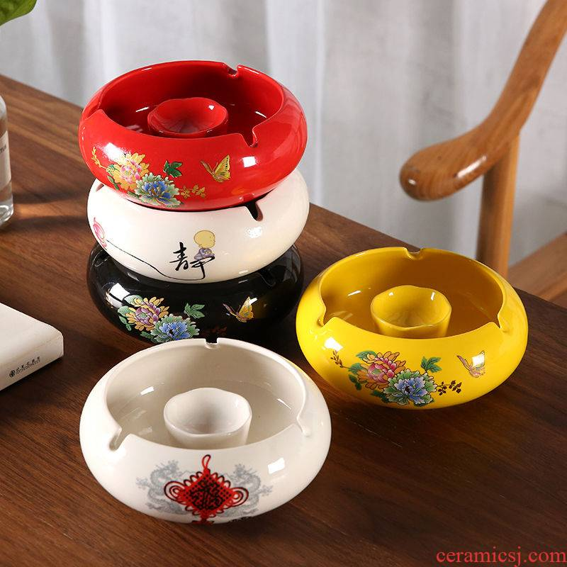 Rhinoceros think ashtray creative move trend against the fly ash large new Chinese style household living room office ceramic man
