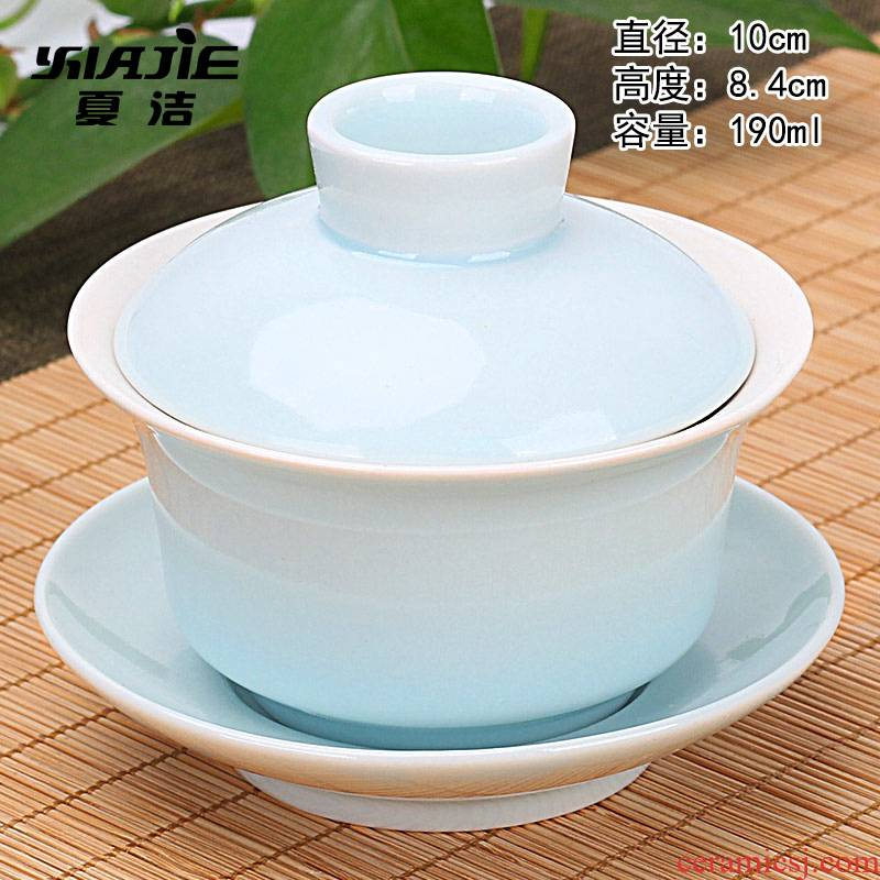 Four - walled yard ceramic celadon tureen tea bowl large single three tea kungfu tea set jingdezhen blue and white porcelain