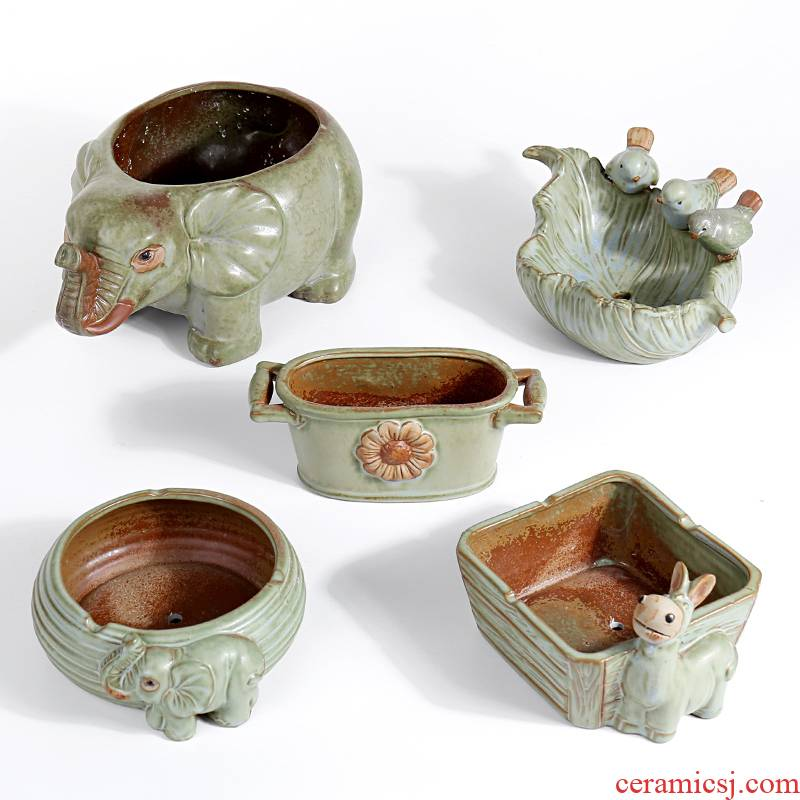 Restore ancient ways small animals elongated fleshy flowerpot ceramic platter old running the fleshy plant a flower pot special offer a clearance package mail