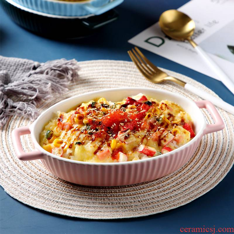Ceramic baked FanPan household pan baked cheese to use creative lovely ears microwave oven dedicated plate