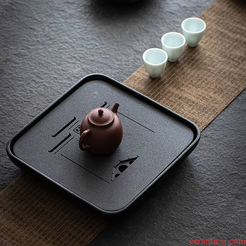 Black pottery dry tea tray was sharply stone tea small reservoir type tea table for ceramic tea tray household contracted kung fu tea tray