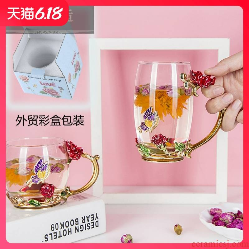 Hold to guest comfortable household enamel cup los poem flower CPU heat - resistant glass crystal business creative gift