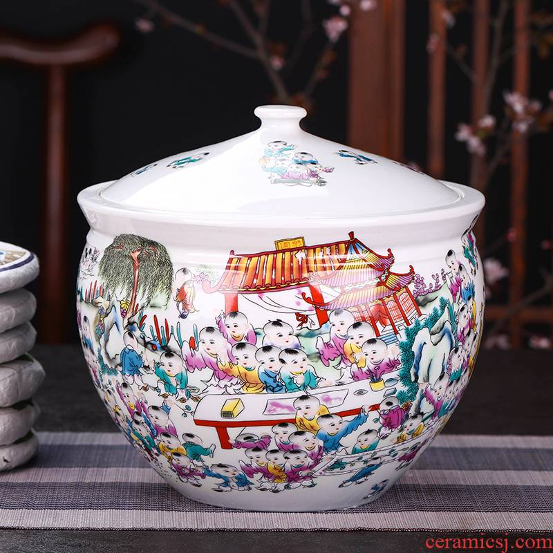 Jingdezhen porcelain ceramic pot storage tanks a catty large tea caddy fixings boxed loose tea packing seal pot