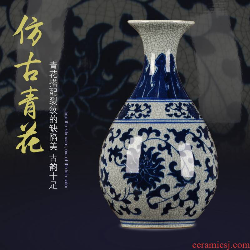 Jingdezhen blue and white home decoration crafts antique ceramics up with dry ice to crack the sitting room porch decoration vase