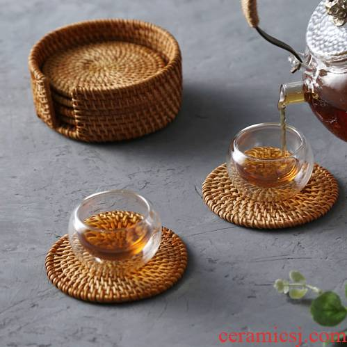 Japanese hand - woven table mat one what the cane top service up the cup pad insulation plate MATS eat mat mat the teapot tea taking