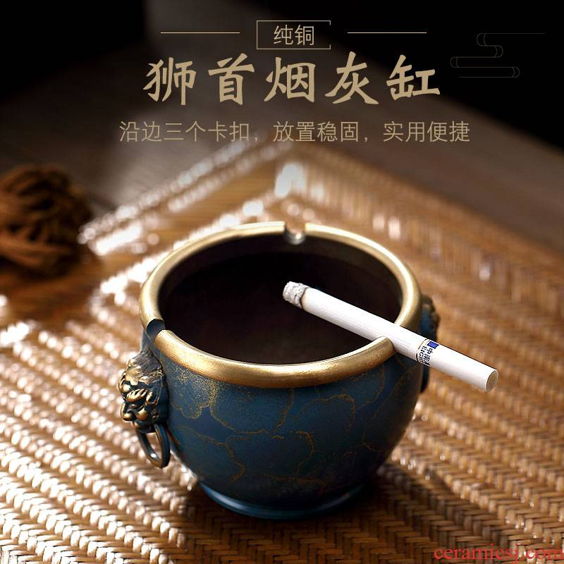Morning high pure copper large creative ashtray Chinese style restoring ancient ways in hot hot cylinder cylinder palace tea waste water tank