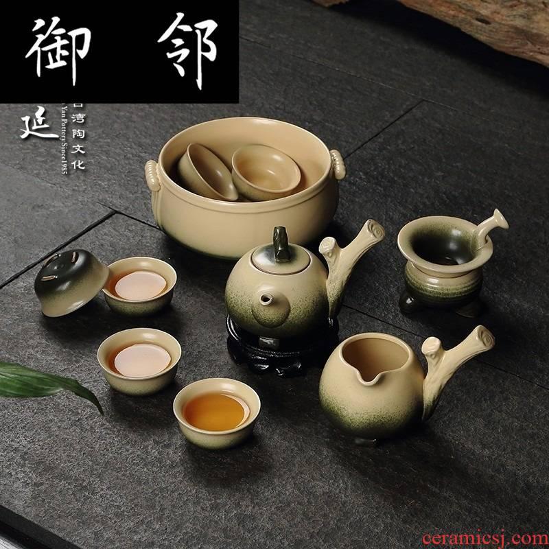 "Taiwan manen han clay archaize health ceramic tea set tea ware, green bamboo snake kung fu tea set named ""supply"""