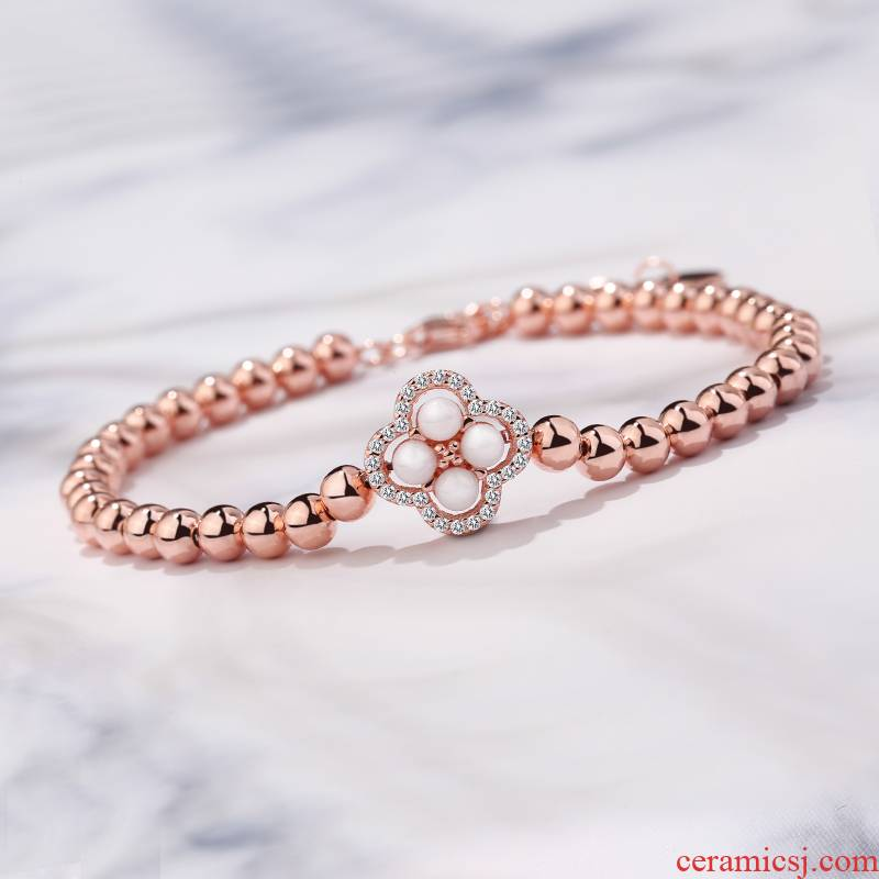 YsdS925 silver ceramic clovers han edition contracted move ins wind transport bead bracelet with getting girlfriends