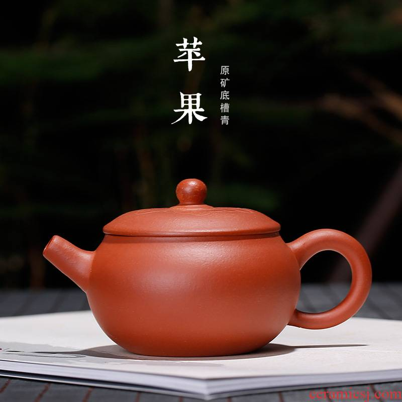 Yixing ores are it ores bottom groove green apple mini pot of ink sketch kung fu tea set