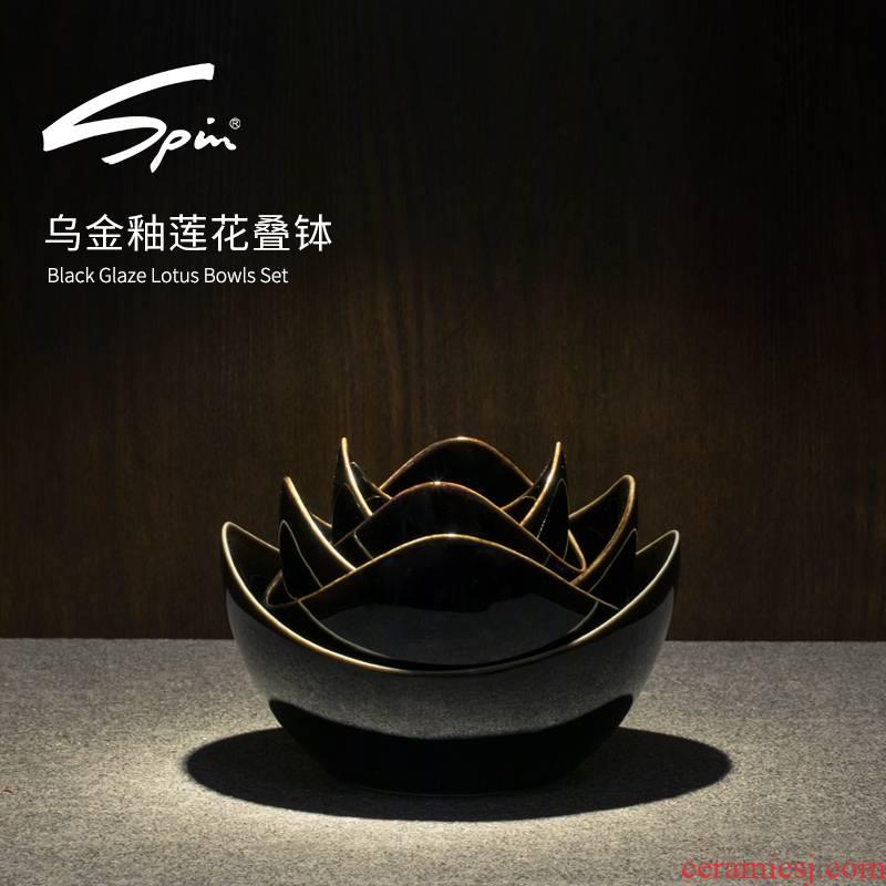 Spin sharply glaze fruit bowl lotus fruit platter creative modern ceramic bowl sitting room tea table boreal Europe style