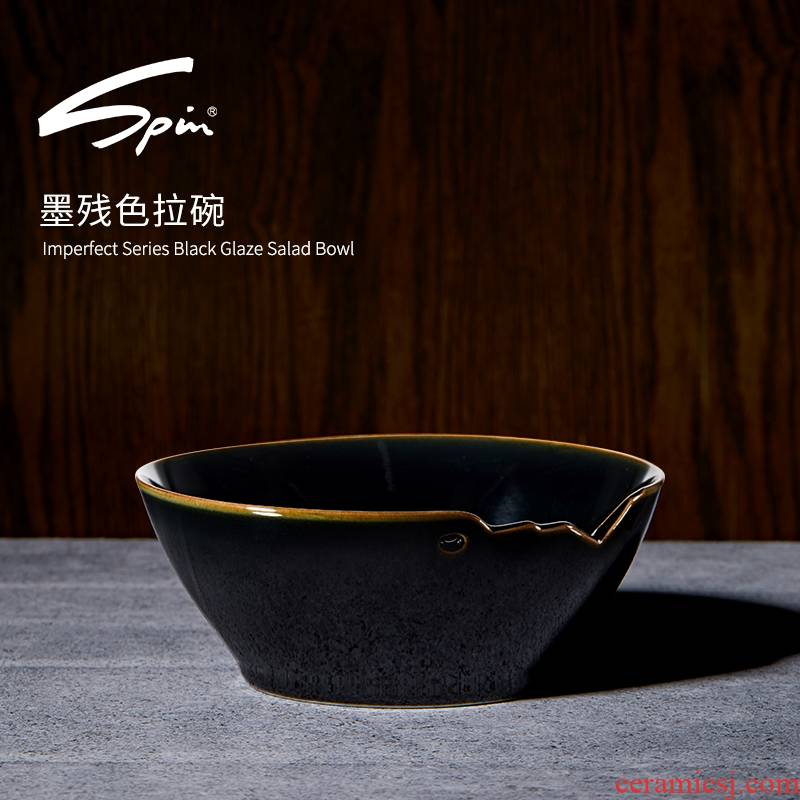 Spin the ink residue salad bowl of jingdezhen domestic individual ceramic bowl bowl of creative move single fruit salad bowl bowl