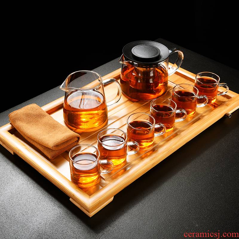 & old kung fu tea set, glass suits for contracted household Japanese cooking tea tea, the teapot teacup tea tray tray