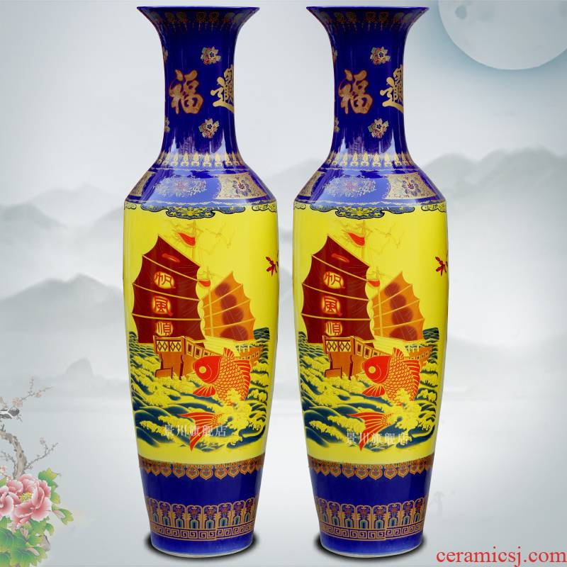 The blue and yellow smooth jinxiu garden a thriving business gold two thousand large vases, jingdezhen ceramic furnishing articles