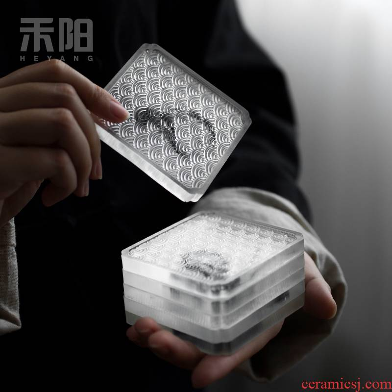 Send Yang resin pine coasters tea accessories tea taking of household heat insulation cup mat cup suit kung fu