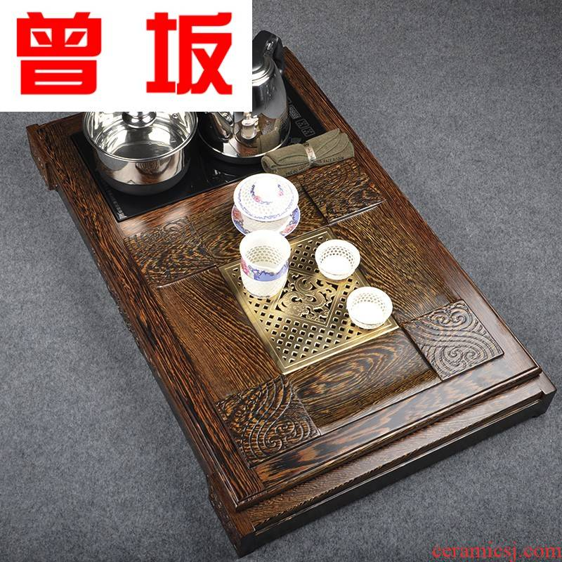 Once sitting wenge wood large tea tray was kung fu tea sets four and draw out the saucer dish induction cooker